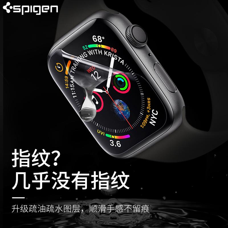 Spigen apple watch4钢化膜iwatch5保护膜苹果iwatch4代手表膜全屏44mm贴膜苹果曲面apple iwatch4水凝膜