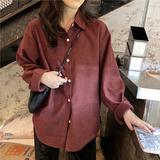 春季2020复古外套女韩版设计感小众宽松衬衣女士长袖衬衫港味上衣
