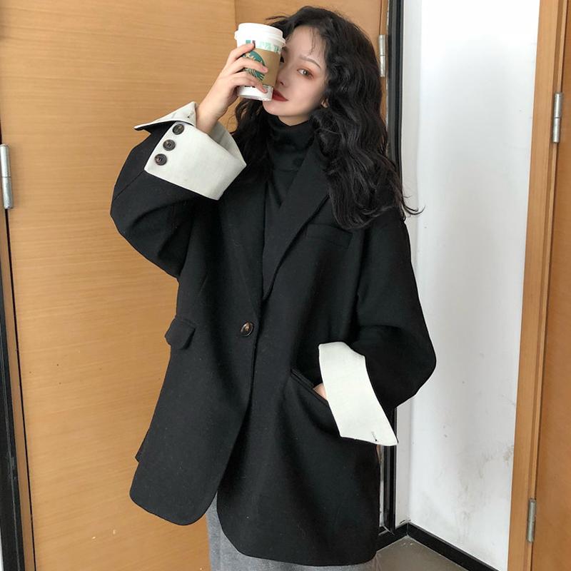 秋冬2018新款女装赫本风气质西装领加厚毛呢外套中长款呢子大衣潮