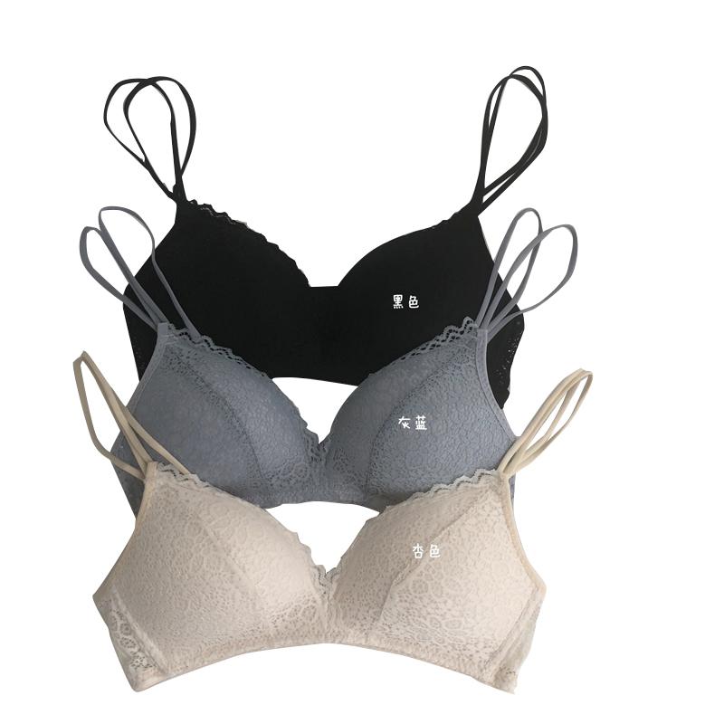 夏季2019新款女装蕾丝小胸内衣无钢圈聚拢薄款法式文胸学生胸罩潮