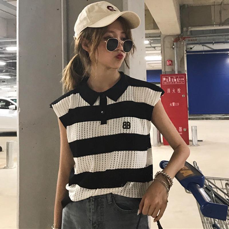夏季韩版学生休闲女装百搭无袖背心薄款数字刺绣polo领学生上衣潮