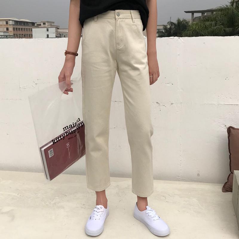 裤子女装新款春装韩版chic高腰显瘦纯色休闲直筒裤九分显瘦牛仔裤