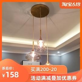 餐厅吊灯北欧现代简约三头吧台饭厅灯具个性创意酒杯床头玻璃灯饰