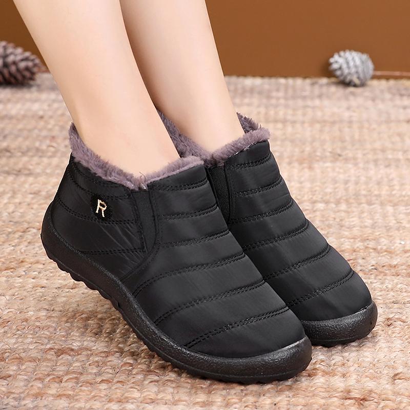 冬季女士防水短棉鞋老北京布鞋女鞋加绒保暖休闲鞋加厚防滑妈妈鞋