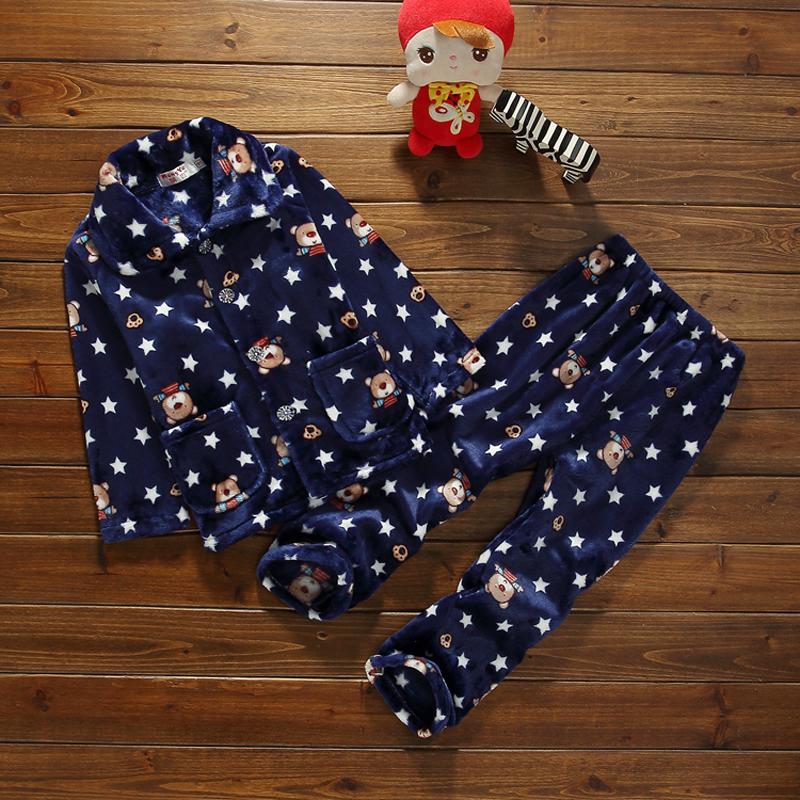 秋冬儿童法兰绒睡衣宝宝珊瑚绒睡衣套装小中大童男女童保暖家居服