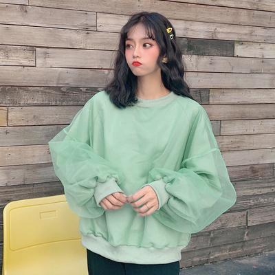 8310#(实拍)250克 纯色假两件网纱插肩袖宽松卫衣女加绒加厚