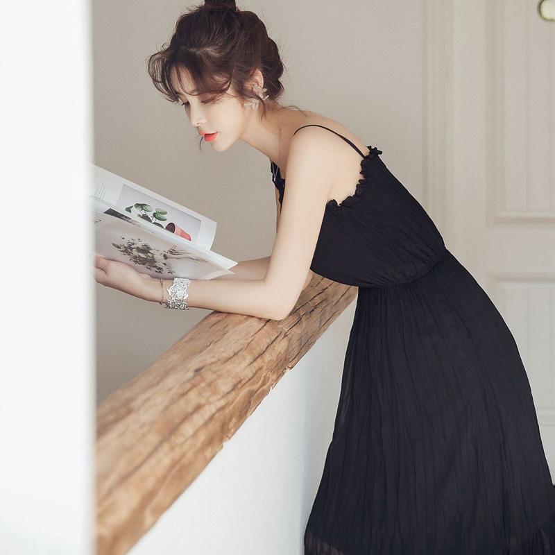 吊带睡裙女夏带胸垫可外穿公主风冰丝性感睡衣长款仙女雪纺家居服