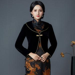 华族经典秋装短外套女装改良修身日常优雅旗袍外套外搭百搭小