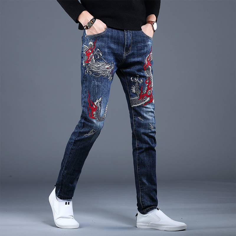 Hong Kong Genuine Embroidered perforated jeans spring and autumn Europe mens fashion brand personalized slim printed small leg casual pants