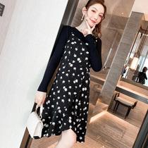 奢姿胖mm2020秋季新款气质大码女装套装连衣裙碎花吊带裙两件套
