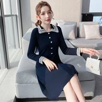 奢姿2021春季新款大码女装收腰显瘦POLO领裙子肥妹妹针织连衣裙