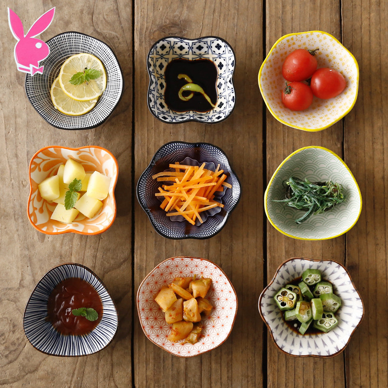 日式陶瓷味碟子家用饺子蘸料碟小吃小菜碟火锅料碗酱油调味碟托盘