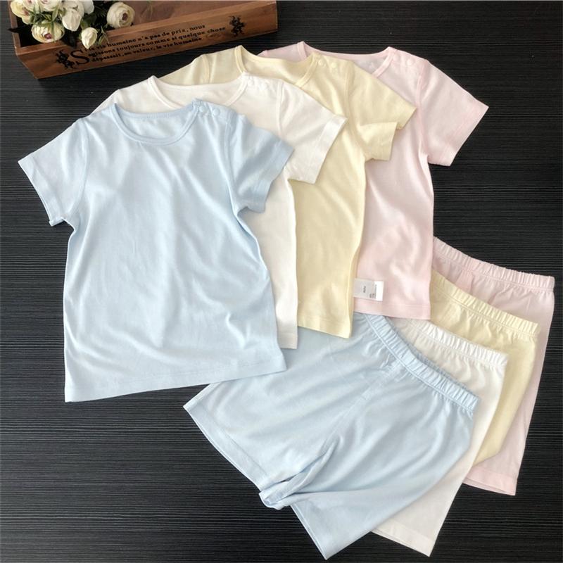 夏季婴幼儿短袖套装男女宝宝睡衣空调服薄款儿童竹纤维打底内衣套