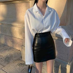 皮裙2020新款 黑色PU皮包臀裙半身裙高腰显瘦小短裙女秋冬红色 秋季
