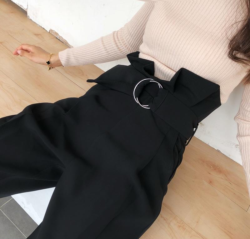 COCO 2020春夏新款圆环扣黑色铅笔裤女休闲裤长裤花苞裤烟管裤