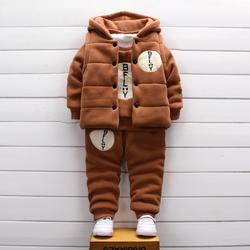 宝宝加绒加厚卫衣三件套装婴儿童装秋冬季男童女童棉衣服外套冬装