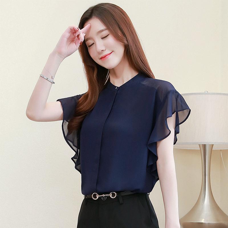 蓝色衬衫女短袖气质纱料上衣小立领雪纺衫荷叶边洋气2020夏季新款