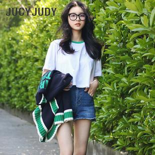 JucyJudy百家好直筒裤 新款 JTDP323B 女短裤 毛边牛仔裤 宽松纯棉夏季