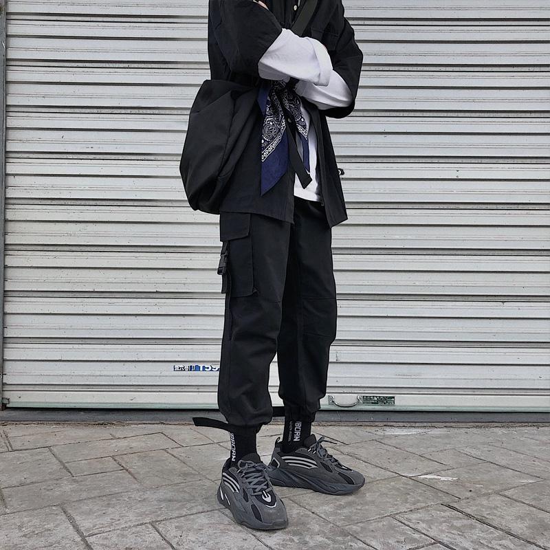 需要用券束脚裤男士嘻哈ins工装裤潮牌裤子潮流九分运动裤宽松cargo休闲裤