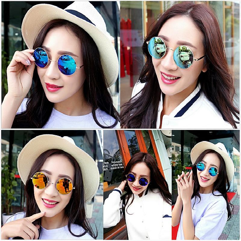 New round sunglasses star same style mens and womens small frame retro Polarized Sunglasses
