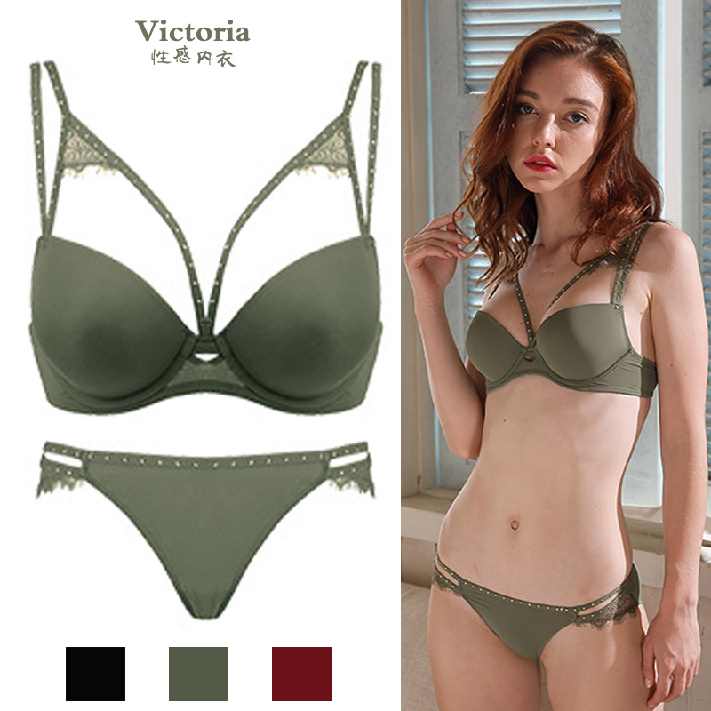 Victoria sexy deep V gathered bra suit secret smooth no trace red benmingnian underwear lady