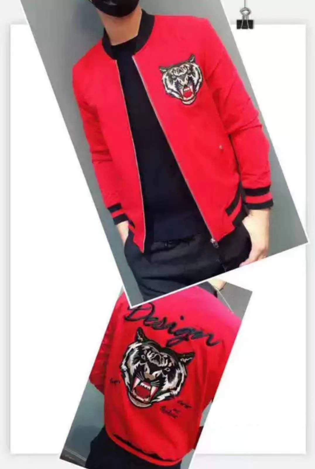 男生春季红色刺绣外套虎头个性潮牌修身帅阳光棒球青年薄款夹克衫