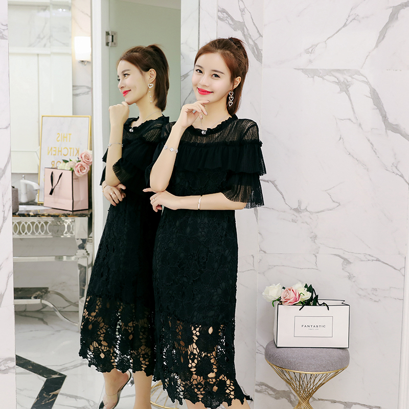 Fat sisters little black skirt summer 2018 new belly covering Tibetan meat Leisi Chiffon Dress Medium Length foreign style