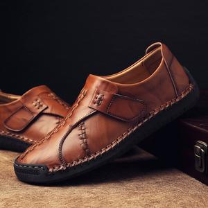 冬季新款男士加绒保暖皮鞋男鞋青年商务英伦黑色休闲真皮懒人棉鞋