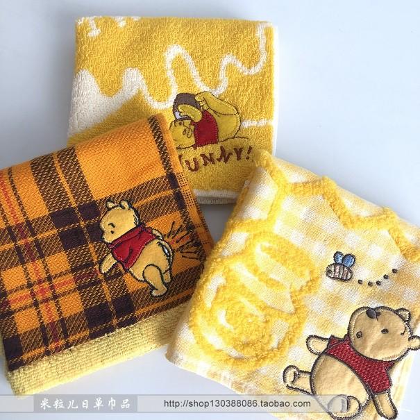 Japanese single Winnie bear cotton terry jacquard embroidery soft handkerchief small square towel