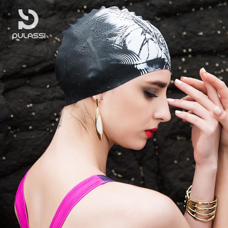 普拉施泳帽女士长发ins时尚学生纯色硅胶成人护耳训练游泳帽防水