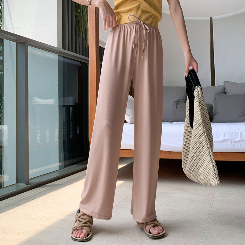 Wide leg pants womens high waist sagging loose summer thin ice silk mop casual straight tube drop feeling long pants cool