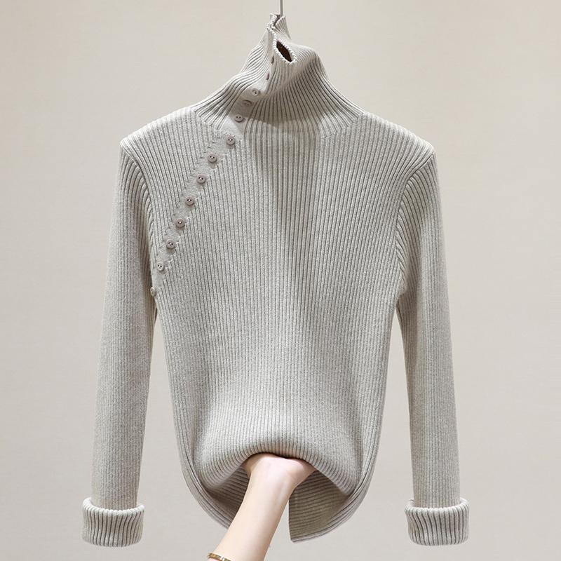 高領修身百搭長袖針織衫女冬裝2019新款韓版套頭顯瘦打底衫上衣潮
