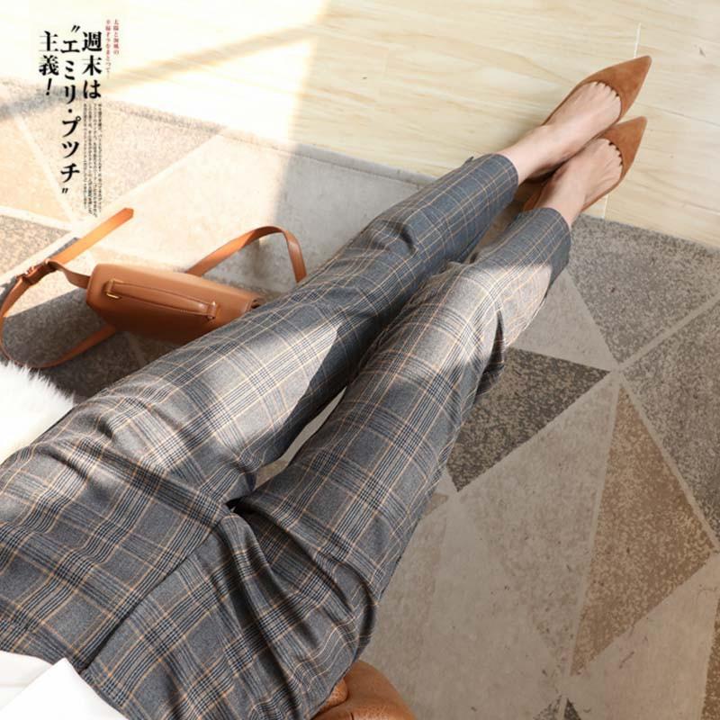 哈伦萝卜裤女春秋高腰显瘦小西装裤直筒宽松九分烟管小脚格子裤女