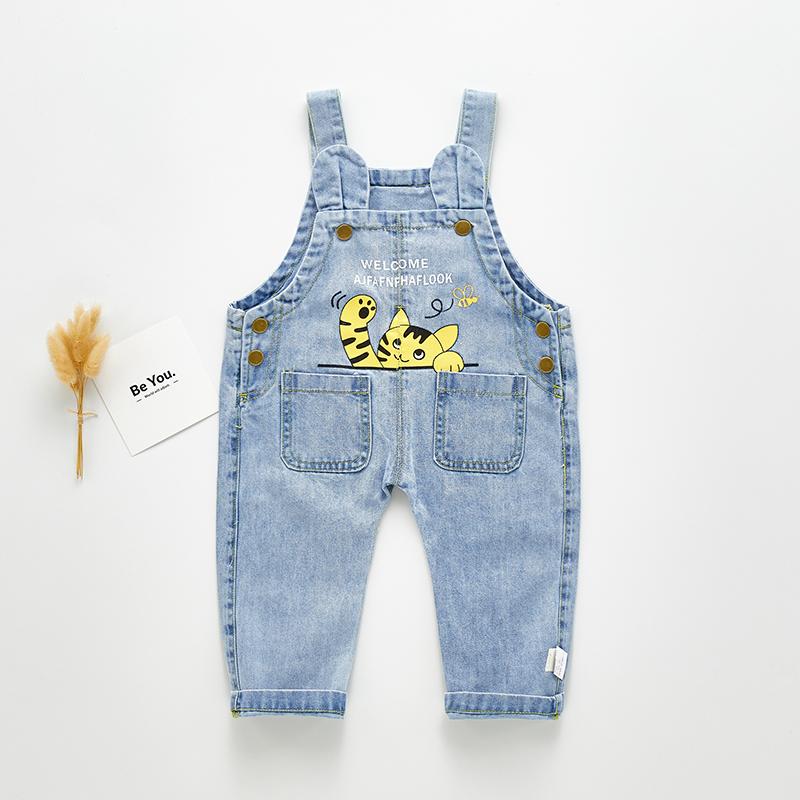 宝宝软牛仔背带裤卡通洋气0-2岁婴儿吊带裤春秋可开裆男女童长裤