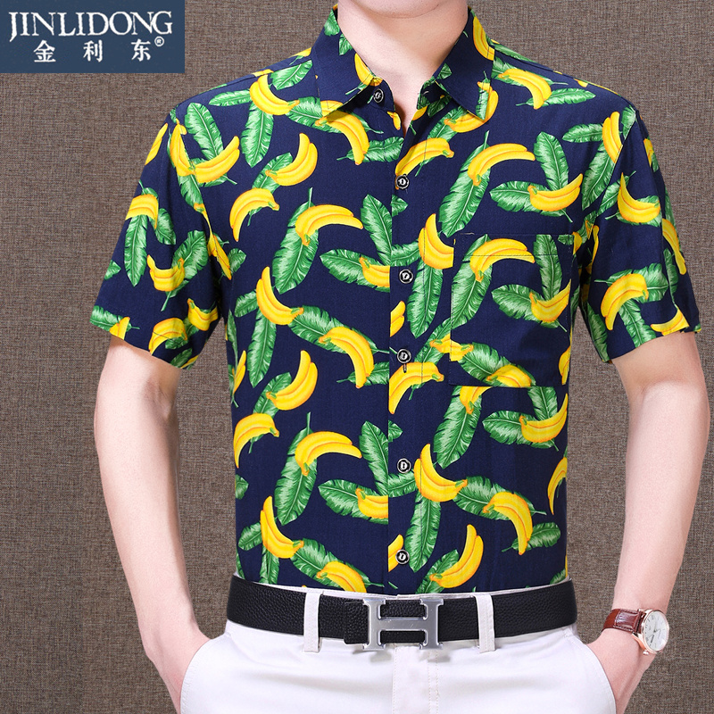 Mens short sleeve mulberry silk linen shirt middle aged mens fathers wear easy printing business casual large size shirt