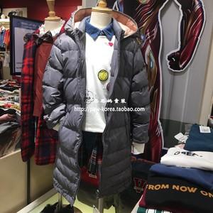 韩国专柜正品OHOO童装2018冬款男女童连帽长款羽绒服OHJD18W52