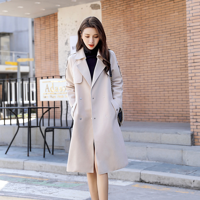 Suede Beige windbreaker womens long and small 2020 spring new style slim fashion single layer coat