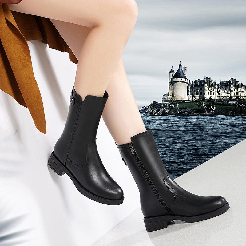 新款英伦粗跟马丁靴平底靴子2020百丽真皮中筒靴女冬季加绒金特