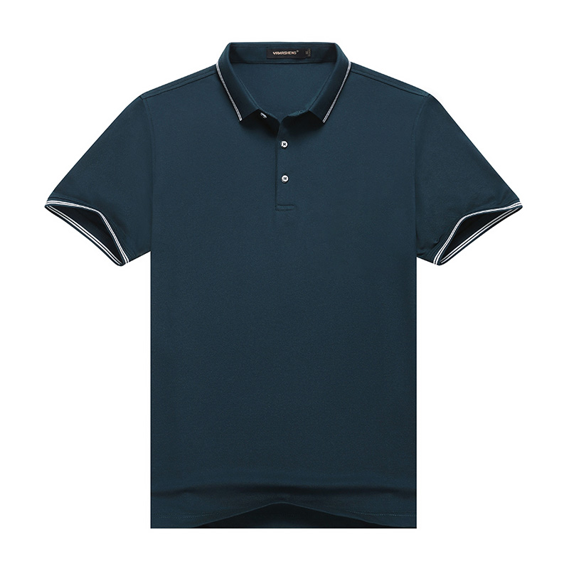 Summer middle aged mens short sleeve T-shirt loose solid color polo shirt ice silk half sleeve T-shirt for middle-aged and old people