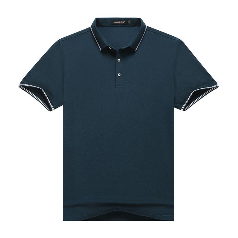 夏季中年男士短袖T恤宽松纯色翻领POLO衫中老年人冰丝半袖体恤衫