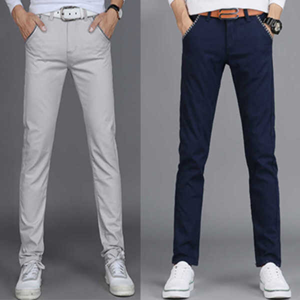 2021 new summer pants mens elastic casual pants business SLIM STRAIGHT cotton spring PANTS YOUTH trend
