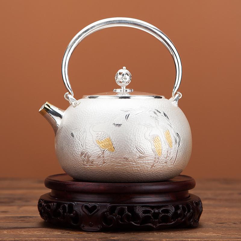 鎏金纯银999家用纯手工茶壶烧水壶
