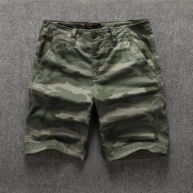 Summer new cotton pants mens AMI Khaki camouflage Capris basic simple overalls shorts package
