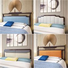 新中式实木床头板软包简约现代1.8米双人床靠背板式单买床头2定制