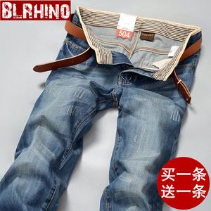 秋款新款男装牛仔裤男士宽松韩版潮流休闲复古修身破洞直筒长裤子
