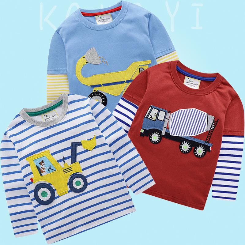 恤长袖纯棉男童秋装类小童工程车搅拌机勾机儿童衣服A挖掘机图案T