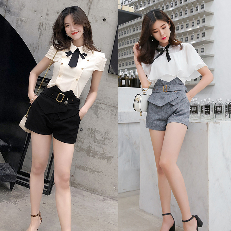 South Korean professional belt with ruffles and high waisted shorts Cape Cape off shoulder chiffon shirt fashion two pieces