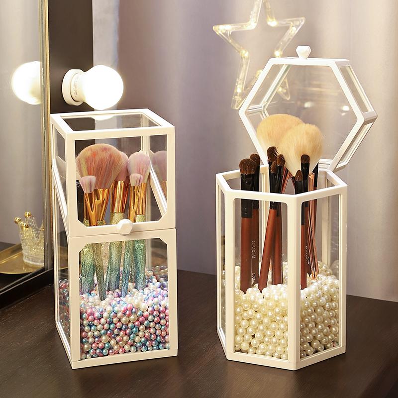玻璃化妆刷收纳盒防尘带盖ins北欧风透明眉笔眼线笔筒珍珠刷子桶