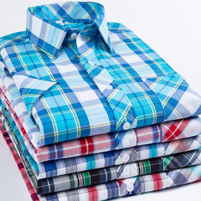 加肥加大短袖衬衫男纯棉格子夏季薄款全棉肥佬宽松大码半袖衬衣潮