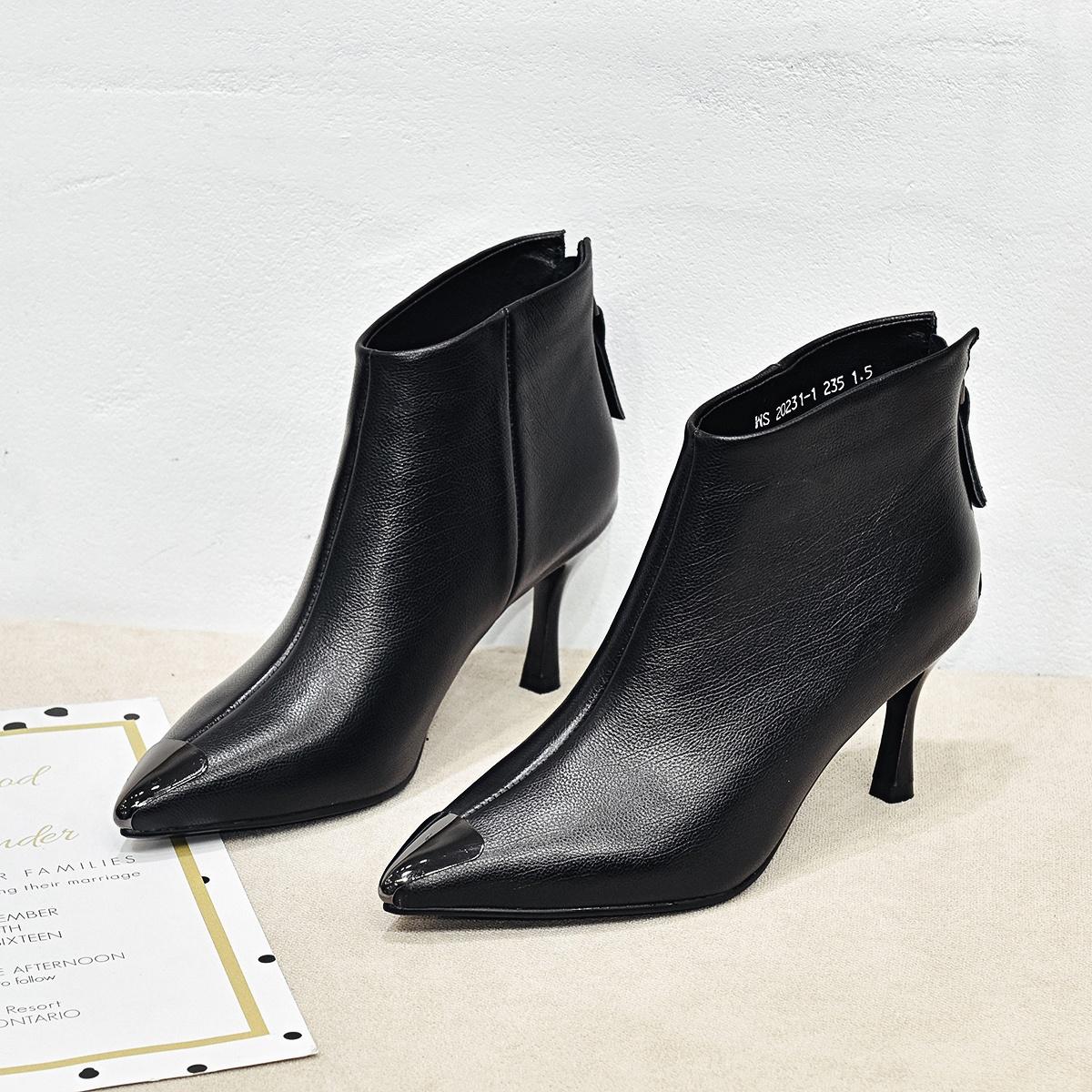 女靴春秋单靴女鞋2019新款夏季马丁靴女细跟高跟尖头真皮百搭短